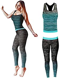 Bonjour® Women's Sportswear Wear / Vest and Crop Top & Leggings ( 2 Piece Set Top & leggings ) Stretch-Fit Yoga Gym Wear Set