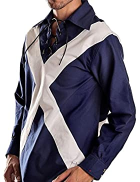I Luv LTD Gents Scottish Ghillie Shirt In Saltire Style Design Size Small