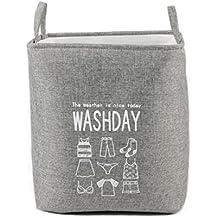 1114/5000 Cestino di lavanderia Abbigliamento Giocattoli Libri Cestino di contenimento per barattoli per il lavaggio Cotone e lino di lino Container a benna in piedi in piedi in su (Grigio)