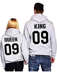 Minetom Moda Hombre y Mujer Pareja Impresión Corona KING & QUEEN Sudaderas con Capucha Manga Larga Jersey Camisa de Entrenamiento…