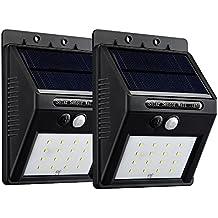 VicTsing 16 LEDs Luz Solar con Sensor de Movimiento Focos para Pared Exterior, Iluminación y Seguridad de exterior, 2 Packs