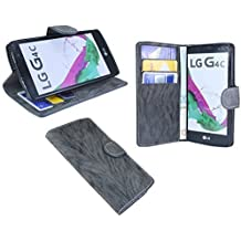 LG G4C//libro Funda Móvil Case Funda Wallet Libro con Función Atril en antracita @ Energmix
