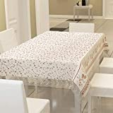 E-Retailer™ Stylish Waterproof 6 Seater Dinning Table Cover with Leather Touch and White Lace (for Size 54x78 inches)