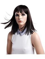 SONGMICS Perruque noir de 41 cm Avec frange Cheveaux synthétique Perruque femme WWG05BK