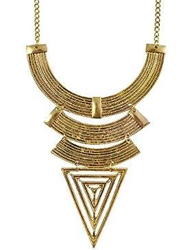 Jane Stone Damen Halskette Statement-Kette Rundbogen Dreieck Ägyptisch goldfarben Collier aus Metalllegierung