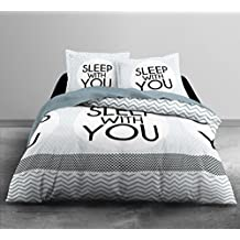 Today HC3 algodón 57 hilos Enjoy Home Sleep Home juego de cama 2 personas Enjoy dibujo Sleep With You funda de edredón de 220 x 240 cm + 2 fundas de almohada 63 x 63 cm algodón blanco/gris/negro