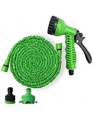 Flexible Magic Tuyau d'arrosage de jardin extensible 100FT(30m) Tuyau d'arrosage de voiture Tuyau d'eau de jardin en plastique + pistolet (EU) Bleu et vert (vert)
