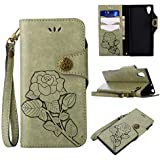 Sony Xperia XA1 Protective Case, UNEXTATI Vintage Rose Pattern Stand PU Leather Flip Cover, Wallet Case Cover With Hand Strap For Sony Xperia XA1 (Light Green)