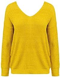 Annybar Damen Kurz Sweatshirt Rückenfreie Pullover V Ausschnitt Oversize  Sweater mit Perle 956d66c5b5