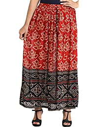 Exotic India Double-Shaded Elastic Long Skirt With Bandhani Print