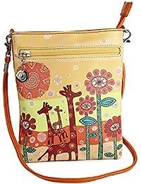Stylish Multi Color Printed PU Leather Sling Bag For Girls / Women / Ladies 3 Zipper Pocket Cross Body Bag By... - B073RJNCMN