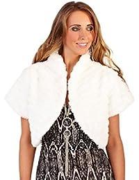 WOMENS LADIES FAUX FUR SHRUG SHAWL THROW CAPE SCARF BOLERO BRIDAL COAT WRAP WINTER WARM SHOULDER BLACK WHITE 8-14