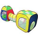 Pop Up Tienda de Campaña, Casa de Juego Tiendas de Juegos con Túnel con Cuadro de Baloncesto Plegable Portátil para Niños y Niñas Interior y Exterior (BOLAS NO INCLUIDO)