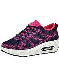 Zapatos Senderismo de malla,Sonnena Mujeres volando zapatos de malla tejida Calzado deportivo casual Zapatillas oscuras de suela gruesa