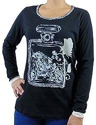 Camiseta mujer manga larga color negro con estampado perfume y rosas t-shirt