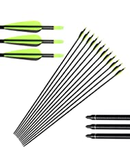 """Huntingdoor 12PCS 32"""" Fiberglass Target/Hunting Arrows with Replacement Screw-In Target Practice Point for Recurve and Compound Bow High Strength and Durable Special Recommendation 3 Colors Available"""