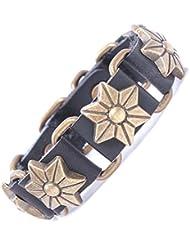 &ZHOU pulseras,Remaches de piel de becerro, pulsera, pulsera de cuero, accesorios de forma de flor, pulsera antigua, joyas retro , black