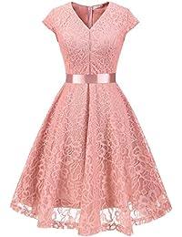 MuaDress Fashion Vestido Corto De Fiesta Elegante Mujer De Encaje Escote en V Estampado Flor Vestido