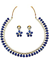 Geode Delight Gold Plated American Diamond CZ Necklace Earrings Set For Women(GD13AUG-7852_blue)