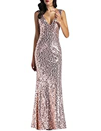 7238ef1552a0 Petalum Women Shine Sequin Bridesmaid Long Dresses Sparkle Elegant Mermaid  Evening Dresses V Neck Sleeveless High