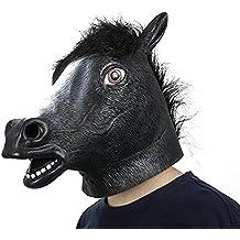 XIAO MO GU Máscara de la Cabeza de Animal Caballo, Máscara del Látex de la Decoración de Disfraces de Halloween para los Adultos y Niños
