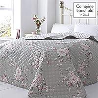 Catherine Lansfield Canterbury Easy Care Bedspread Grey, 240x260cm