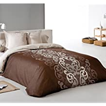 Reig Martí Aura - Juego de funda nórdica jacquard, 4 piezas, para cama de 180 cm, color marrón