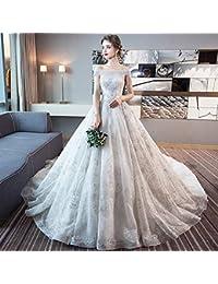 WFL Abito da sposa retrò pizzo argento spalla parola sottile sposa  matrimonio coda principale 18e6be27fff