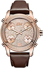 JBW Luxury Men's Jet Setter 136 Diamonds Five Time Zone Swiss Movements & Italian