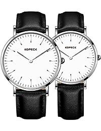 Kopeck ultrafino de pareja relojes moda Conciso impermeable analógico reloj movimiento de cuarzo