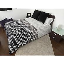 Funda Nordica ZIG-ZAG GRIS Reversible Cama de 150 ( 240X260cm)+ 1 FUNDA DE ALMOHADA (45X170 cm) + sábana bajera ajustable 150 x 190/200 cm - 50%ALGODÓN - 50% POLIÉSTER. Disponible para cama de 90, 105, 135 y 150.
