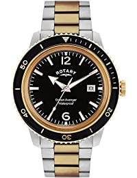 Rotary Men's Quartz Watch with Black Dial Analogue Display and Silver Rose Gold Plated Stainless Steel Bracelet GB02695/04
