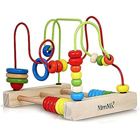 Giocattolo cubo Classic Bead Maze per i bambini più piccoli Roller Coaster in legno Perline Early Learning Giocattoli da 3 anni Olds da NimNik - Bambini Perline