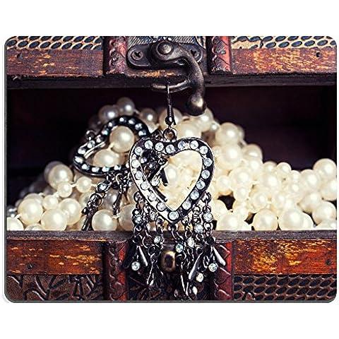 Liili-Tappetino per Mouse in gomma naturale, Mousepads-Orecchini vintage a forma di cuore, da appendere, a forma di scrigno dei tesori 29592960 Vecchia - Scrigno Cuore