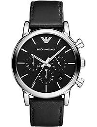 Armani correa de reloj AR1733 Cuero Negro 20mm + costura negro(Sólo reloj correa - RELOJ NO INCLUIDO!)
