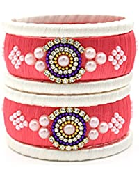 Indi Creation Silk Thread Bangles Ethnic Wear Bangle Set Peach Pink Color For Women Pack Of 6 Bangle