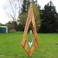 Fenster Deko zum Aufhängen aus Holz | Pendel mit Bleikristall | Olivenholz Deko | Regenbogenkristall | Sonnenfänger | Fensterdeko