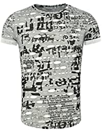 Young & Rich Homme T-shirt SANTANDER Millésime Regardez détruit Effekte facilement durchsichtig Russische Schriftzüge Connexion