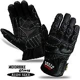 Gants de moto pour enfants en cuir de vachette Protection Bikers Gants de moto hiver
