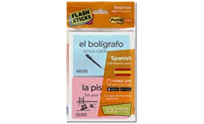 "FlashSticks ISpanisch lernen, Level 1  ""Beginner"", Post-it (rosa und blau)"