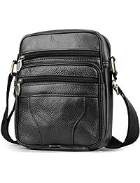BAGZY Bolso Para Hombre Piel Bolso Mensajero Pequeño Bolsa de Cuero Hombre Bolso bandolera Bolsa de Hombro bolsa Cruzada Cuerpo