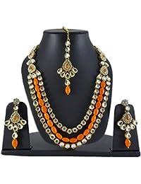 Veechi Exclusive Orange - Kundan & Pearl Necklace Set With Earrings And Maang Tikka/Teeka For Women And Girls