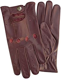 Mens Classic Genuine Cow Nappa Leather Driving Glove Motorbike Dress Fashion Gloves Pair 507 Burgundy Colour