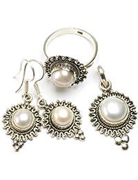 """stargems (TM) Natural Río perla Conjunto de joyería de plata de ley 925diseño único colgante 11/2""""; Anillo 8; Pendientes 11/2"""""""