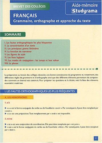 Brevet Des Colleges Francais Grammaire Orthographe Et