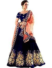 Alazra Creation Women's Tappeta Silk Lehenga Choli (Blue,Free Size, Semi-Stitched)