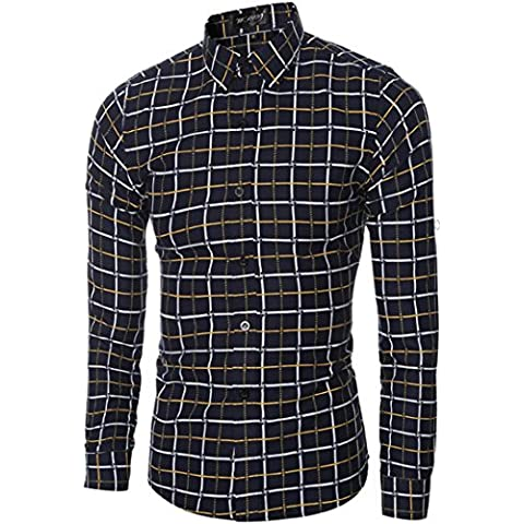 Anglewolf Mens Camice Casuali Long Sleeve Plaid Slim Fit Tops