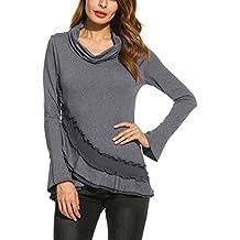 3c79c6c7865 ACEVOG Damen Sweatshirt Langarm mit Wasserfallkragen Langarmshirt damen  Tops Shirt Freizeitbluse Hemd