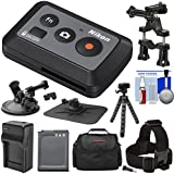 Nikon ML-L6 Wireless Shutter Release Remote Control With Bike Handlebar Suction Cup Mount + EN-EL12 Battery Charger + Case + Tripod + Kit For KeyMission 170 360 Action Cameras