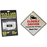 ELDERLY DRIVER PLEASE BE PATIENT CAR WINDOW SIGN AND NOVELTY EMERGENCY PLASTIC PANTS OLD AGE MAN BIRTHDAY PRESENT DAD